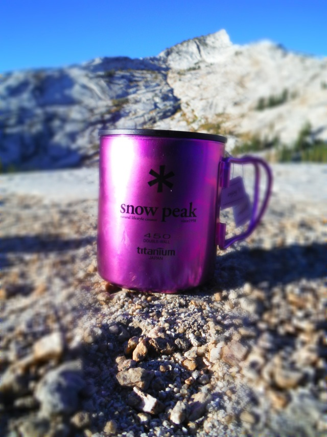 """My over priced, but """"I had to have it"""" ultra light titanium mug.  And it's pink!"""