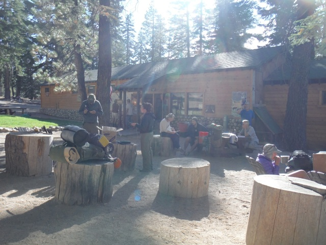 Hanging out with other hikers at Red's Meadow resupply.