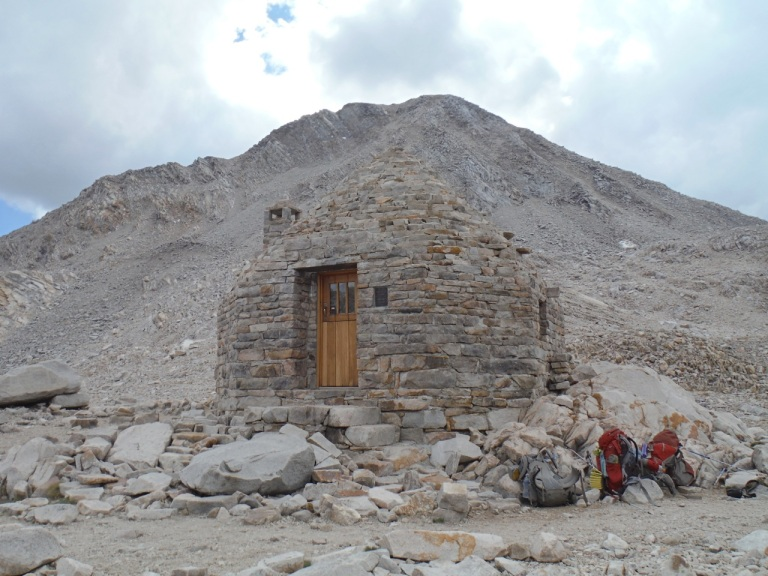 This shelter on Muir Pass was constructed in 1930 by the Sierra Club on a long stretch of exposed trail.