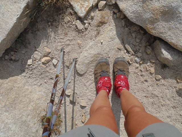If you trail run or hike in dusty places these dirty girl gaitors are awesome. Also, get trekking poles they take so much impact off your legs. We both used them the whole trip.