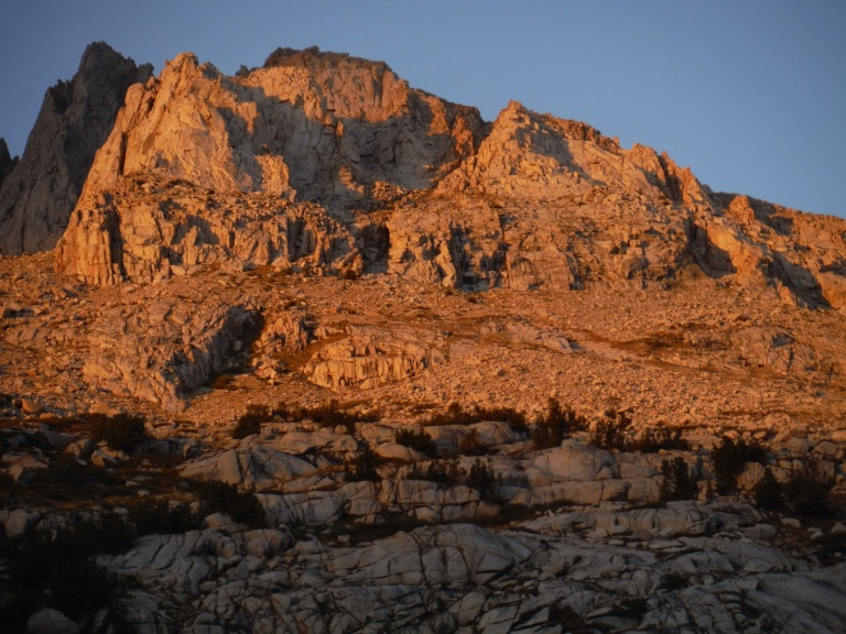 John Muir called the Sierras the Range of Light. You can see why...Morning and evening sun made the peaks sparkle with color.