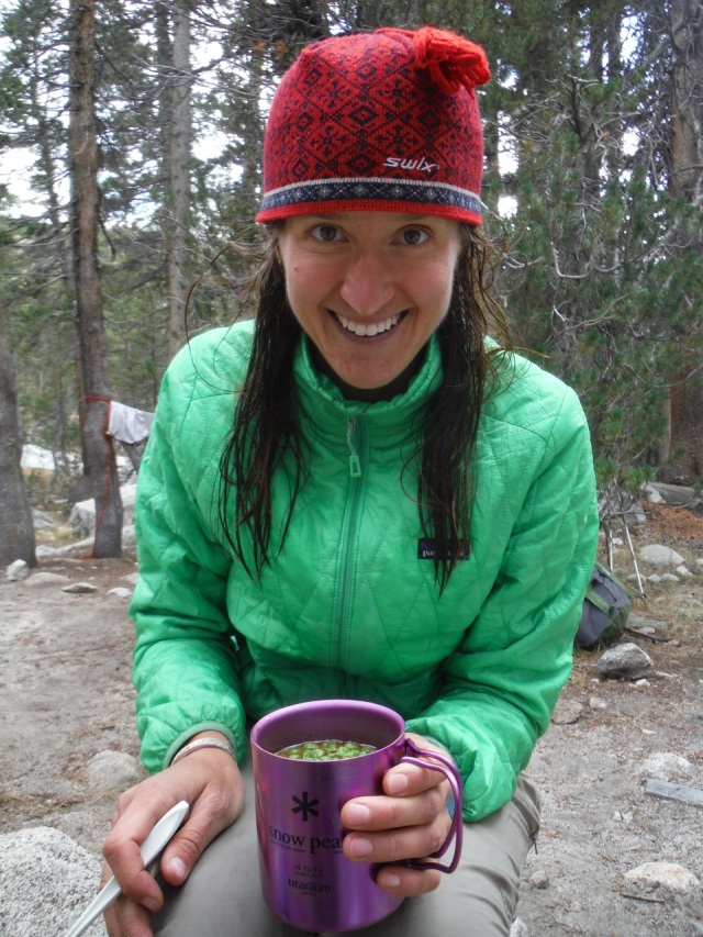 Having soup after a dip in the super cold stream.  Another luxury item my pink titanium mug.