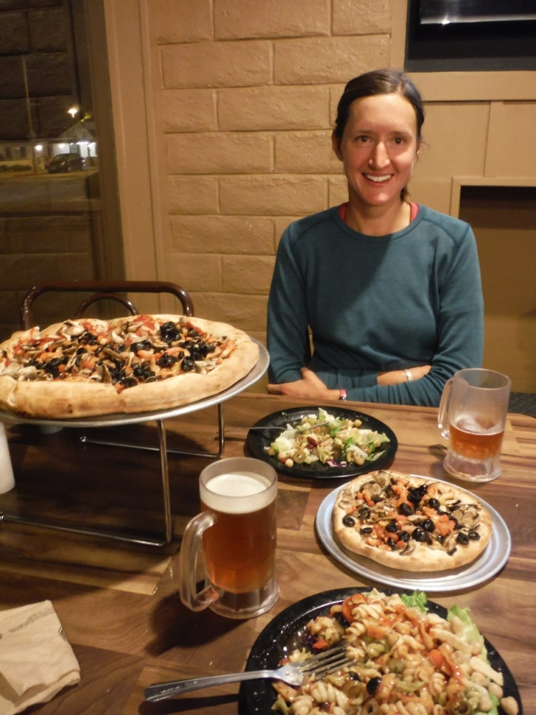We hitch hiked from the Whitney Portal straight to pizza (vegan of course) and beer.