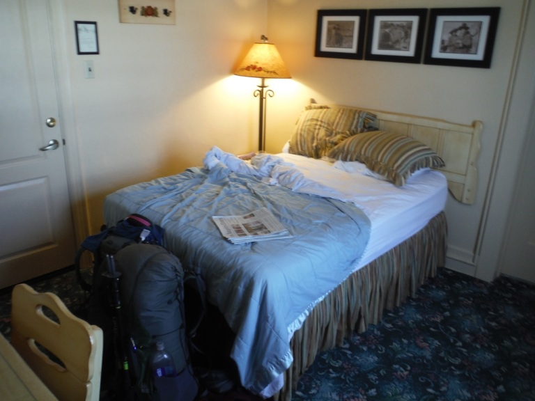 A much welcomed bed after our hike, Lone Pine, CA.