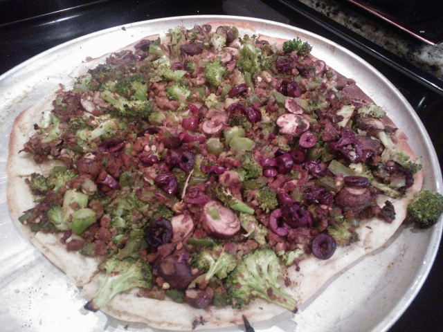 One of our many vegan, gluten free, veggie pizzas.  We took advantage of having an oven.