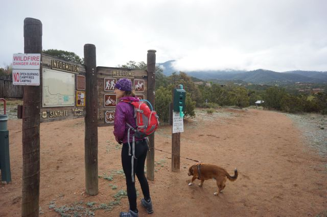 'Atalaya' trailhead in the front of St. John's College. This trail is about 3.1 miles each way (6.2 miles roundtrip) to the top of a mountain with epic views of Santa Fe and the surrounding mountains. It was a rarely cloudy day so we didn't get great views. The hike has about 1500 ft of climbing to the top. The trail starts gradual then gets steeper. It took us 3 hours roundtrip moving at a good pace.