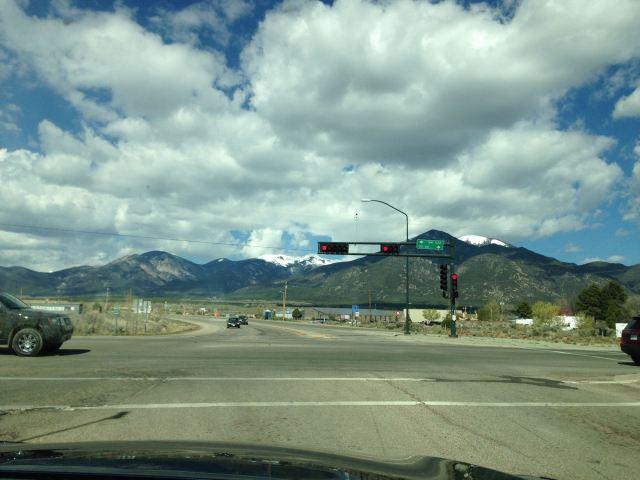 Sangre de Christo Mountains fall right into the town of Taos.